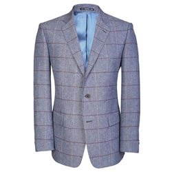 Magee Clothing Light Denim Blue & Raspberry Check Regular Fit Blazer