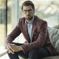 Magee Clothing Raspberry & Blue Checked Tailored Fit Blazer