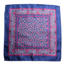 Magee Clothing Cobalt Blue & Pink Teardrop Silk Pocket Square