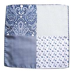 Magee Clothing Navy & White Silk Pocket Square