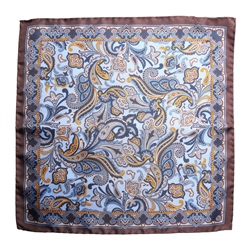 Magee Clothing Brown, Blue & Gold Paisley Silk Pocket Square