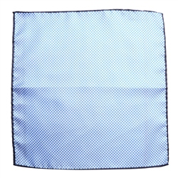 Magee Clothing Light Blue & White Checked Silk Pocket Square