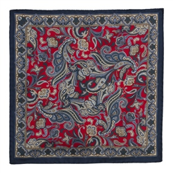 Magee Clothing Navy, Red & Gold Silk Pocket Square