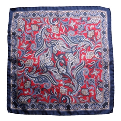Magee Clothing Navy & Red Paisley Silk Pocket Square