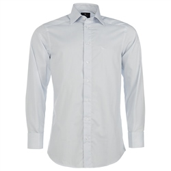 Magee Clothing White & Blue Double Cuff Graph Check Shirt