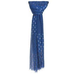 Magee 1866 Blue Patterned Cotton Scarf