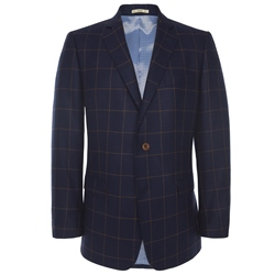 Magee Clothing Navy & Tan Checked Regular Fit Blazer