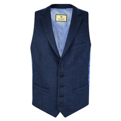 Magee 1866 Navy Blue Linen, Wool & Cashmere Tailored Fit Waistcoat