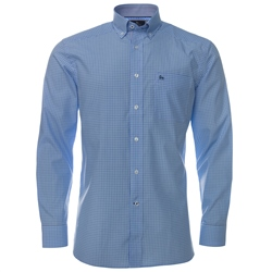 Magee Clothing Blue & Mint Green Micro Check Regular Fit Shirt