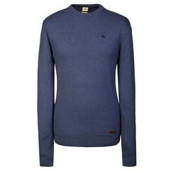 Magee Clothing Marine Blue Cotton Cashmere Crew Neck Regular Fit Jumper