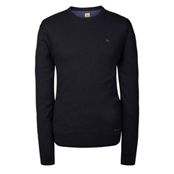 Magee Clothing Navy Cotton Cashmere Crew Neck Regular Fit Jumper