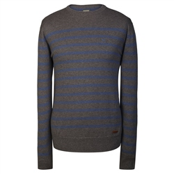 Magee Clothing Charcoal & Blue Crew Neck Striped Jumper