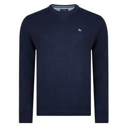 Magee Clothing Navy Cotton Crew Neck Regular Fit Jumper
