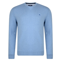 Magee Clothing Sky Blue Cotton Crew Neck Regular Fit Jumper