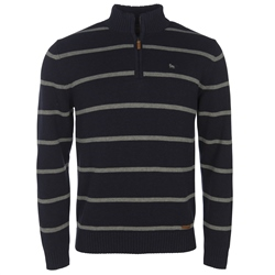 Magee Clothing Navy & Grey Striped 1/4 Zip Regular Fit Jumper