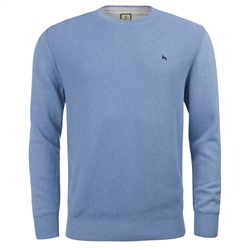 Magee Clothing Sky Blue Cotton Structure Regular Fit Crew Neck Jumper