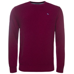 Magee Clothing Raspberry Cotton Structure Crew Neck Regular Fit Jumper