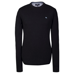 Magee Clothing Navy Cotton Structure Regular Fit Crew Neck Jumper