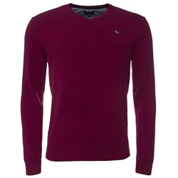 Magee Clothing Raspberry Cotton V-Neck Regular Fit Jumper