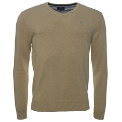 Magee 1866 Oat Cotton V-Neck Regular Fit Jumper