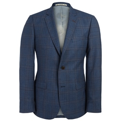 Magee Clothing Blue Fine Wool Check 3-Piece Tailored Fit Suit
