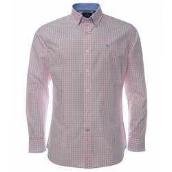 Magee Clothing Pink Gingham Check Button Down Regular Fit Shirt