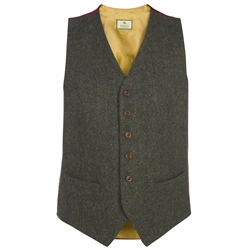 Magee Clothing Green Salt & Pepper Handwoven Donegal Tweed Regular Fit Waistcoat