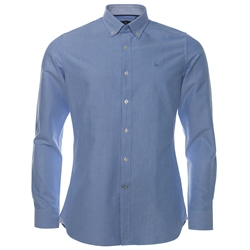 Magee 1866 Blue Solid Oxford Button Down Tailored Fit Shirt