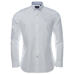 Magee Clothing White Solid Oxford Tailored Fit Shirt