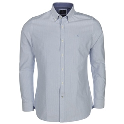 Magee 1866 Blue & White Solid Oxford Bengal Stripe Tailored Fit Shirt