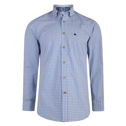 Magee Clothing Blue & White Check Downings Regular Fit Shirt