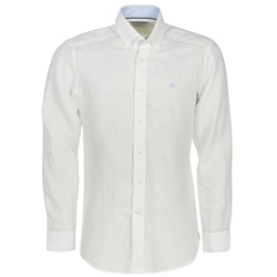 Magee 1866 White Linen Button Down Regular Fit Shirt