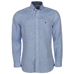 Magee Clothing Blue Linen Button Down Regular Fit Shirt