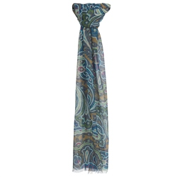 Magee Clothing Blue, Green & Gold Paisley Scarf