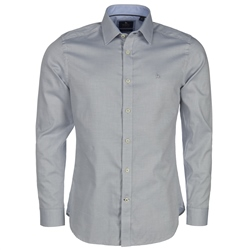 Magee Clothing Blue & White Concealed Button Down Tailored Fit Shirt