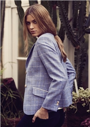 Magee Clothing Blue Checked Donegal Tweed Jacket & Corsage