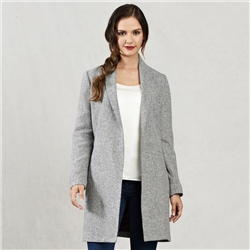 Magee Clothing Black & White Clooney Donegal Tweed Cardigan Coat