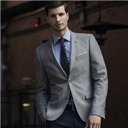 Magee Clothing Grey Cotton & Linen Blend Tailored Fit Blazer