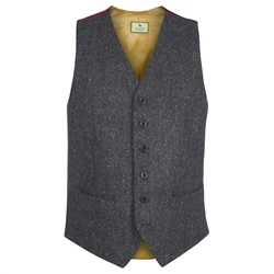 Magee Clothing Navy Salt & Pepper Handwoven Donegal Tweed Regular Fit Waistcoat