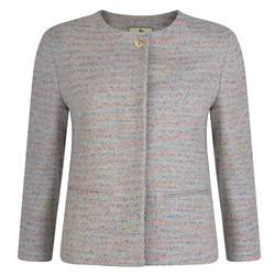 Multicoloured Donegal Tweed Joyce Cropped Jacket
