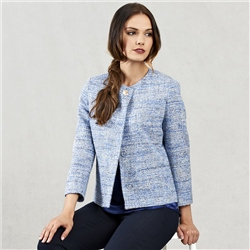 Blue & White Joyce Cropped Jacket