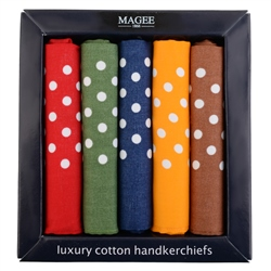 Magee 1866 5 Pack Polka Dot Cotton Hankies
