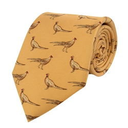 Magee Clothing Gold Pheasants Printed Silk Tie