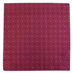 Magee 1866 Raspberry Diamond Printed Silk Pocket Square
