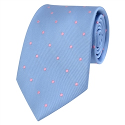 Magee Clothing Blue & Pink Polka Dot Silk Tie