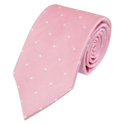 Magee Clothing Pink & White Polka Dot Silk Tie