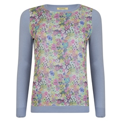 Magee 1866 Lilac Chloe Liberty Print Panel Cashmere Blend Jumper