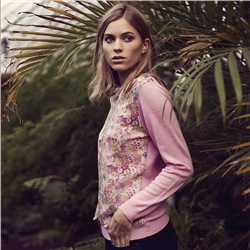 Magee Clothing Pink Chloe Liberty Print Panel Cashmere Blend Jumper