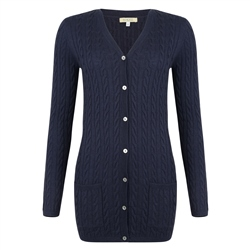 Magee 1866 Dark Navy Cashmere Blend Julie Boyfriend Cardigan