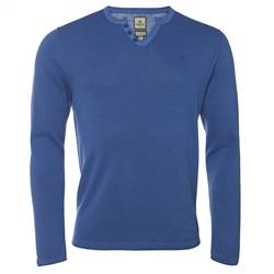 Magee Clothing Cobalt Blue Cotton & Linen Henley Jumper
